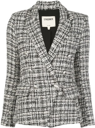 L'Agence Double Breasted Tweed Blazer