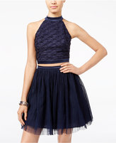 Trixxi Juniors' 2-Pc. Open-Back Tulle Fit & Flare Dress