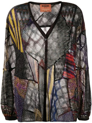 Missoni Patchwork Knit Lightweight Cardigan