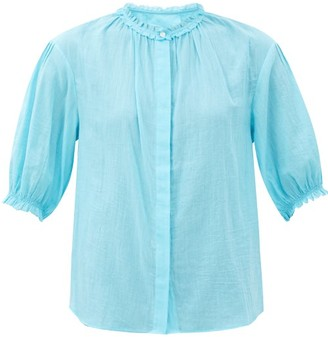 Loup Charmant Pico Ruffled Organic-cotton Blouse - Blue