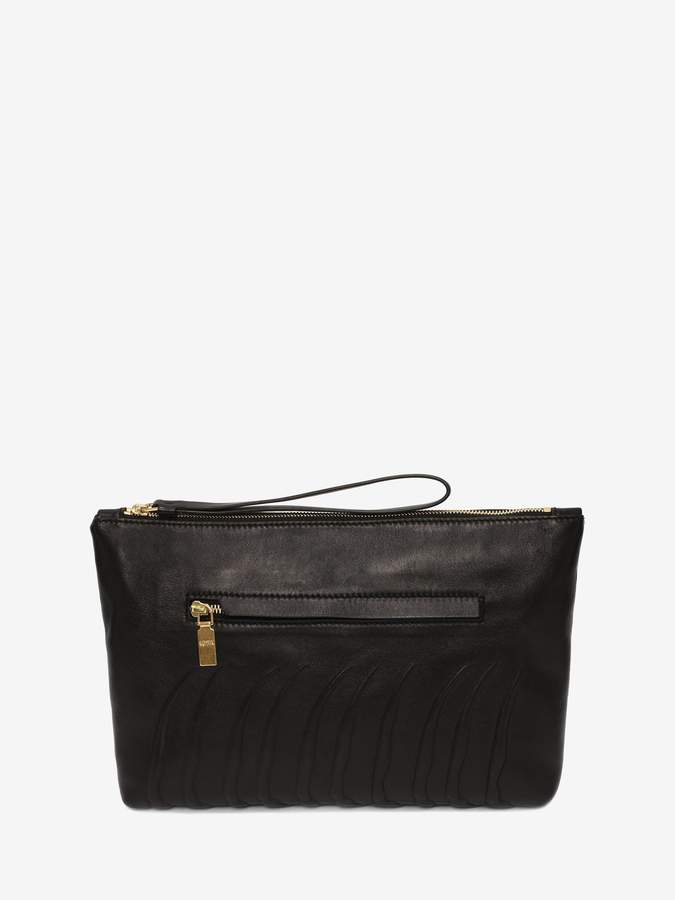 Alexander McQueen Leather Rib Cage Zipped Pouch