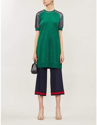 Gucci Metallic wool-blend dress