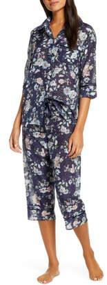 Papinelle Floral Print Cotton & Silk Crop Pajamas