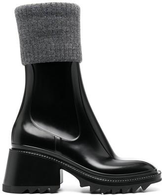 Chloé Knit-Detail Ankle Boots