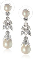 "Carolee Pearl and Crystal Basics"" Simulated Pearl Floral Drop Earrings"
