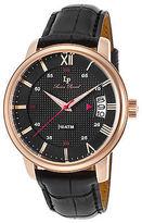Lucien Piccard 40019-RG-01 Men's Amici Black Genuine Leather Black Dial