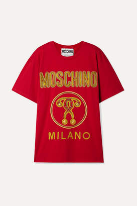 Moschino Oversized Embroidered Cotton-jersey T-shirt - large
