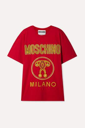 Moschino Oversized Embroidered Cotton-jersey T-shirt - medium