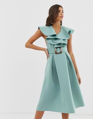 ASOS DESIGN ruffle front midi prom dress with tortoise belt
