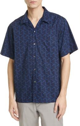Closed Geo Print Short Sleeve Button-Up Camp Shirt