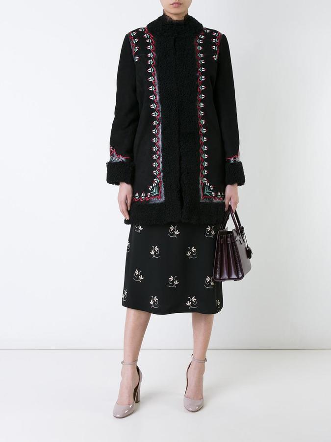 Vilshenko embroidered floral detail coat