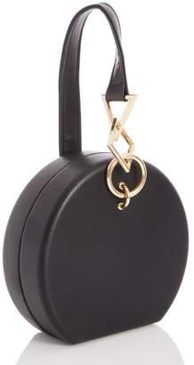 Quiz Black Faux Leather Chain Handle Round Bag