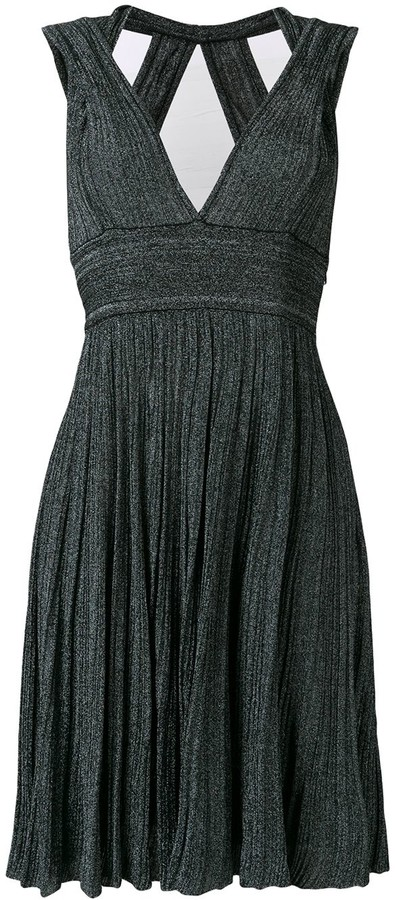 V-Neck Knitted Midi Dress