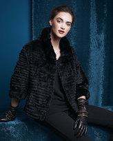 Vince Belle Fare High-Collar Layered Fur Coat
