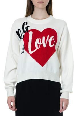 Dolce & Gabbana White Cashmere Sweater With Love Print