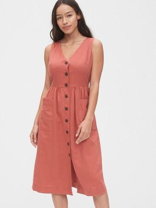 Gap V-Neck Sleeveless Midi Dress