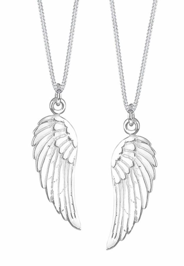 Elli Women's 925 Sterling Silver Xilion Cut Angel Wing Partner Pendant Necklace - 22cm length