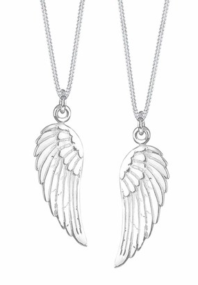 Elli Women's 925 Sterling Silver Xilion Cut Angel Wing Partner Pendant Necklace - 22cm length