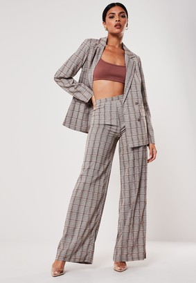 Missguided Brown Check Print Co Ord Wide Leg Trousers