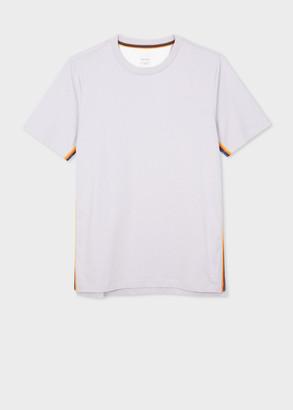 Paul Smith Men's Lilac Organic-Cotton T-Shirt With 'Artist Stripe' Trim
