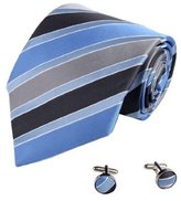 Blue Ties for Men Club Royal Blue Stripes Woven Silk Tie Cufflinks Gift Box Set Y&G Business Tie Set A7005