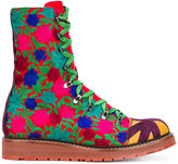 Vivienne Westwood embroidered lace-up boots - men - Cotton/Leather/rubber - 41