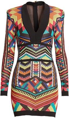 Balmain Geometric Jacquard Bodycon Dress