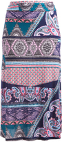 Glam Black Pink & Blue Paisley Waist Maxi Skirt - Plus