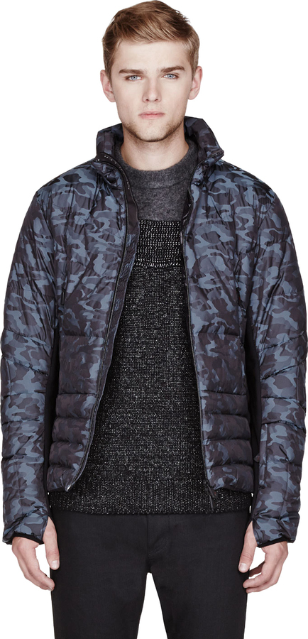 Moncler Slate Blue Camouflage Quilted Carrigbore Jacket