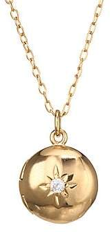 Astley Clarke Women's Mini 18K Goldplated, Sterling Silver & White Sapphire Rose Locket Pendant Necklace