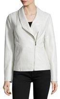 Bagatelle Asymmetric Zip-Front Leather Jacket, White