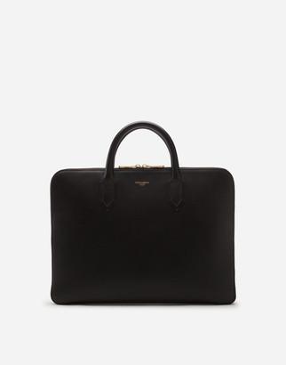 Dolce & Gabbana Monreal Briefcase In Calfskin With Heat-Pressed Logo