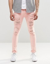 Asos Super Skinny Jeans With Extreme Rips In Pink