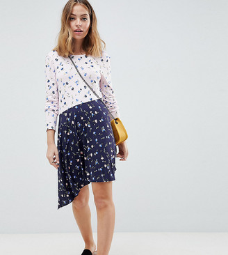 ASOS DESIGN Petite mixed print tea dress with v back