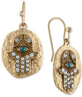 Rachel Roy Gold-Tone Pave Eye Hammered Disk Drop Earrings