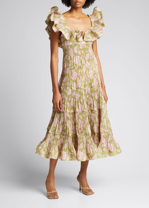 Zimmermann The Lovestruck Pleated Ruffle Dress