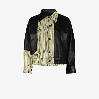 Tokyo James X Homecoming stripe panelled leather jacket