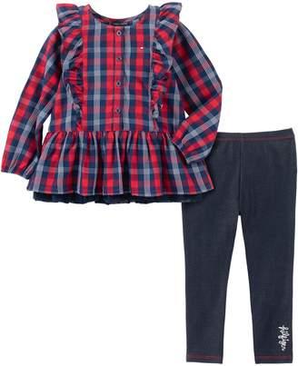 Tommy Hilfiger Baby Girl's 2-Piece Plaid Cotton-Blend Tunic Leggings Set