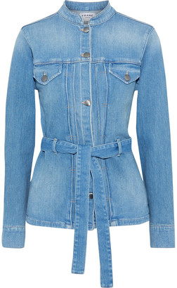 Frame Le Slender Belted Pleated Denim Jacket