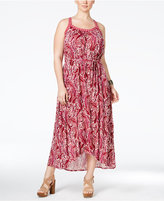 Lucky Brand Trendy Plus Size Paisley-Print Belted Maxi Dress