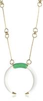 Aurelie Bidermann 18K Gold-plated Brass and White Resin Horn Pendant Necklace