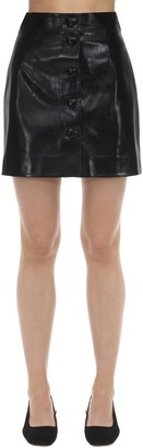 George Keburia Heart Button Faux Leather Mini Skirt