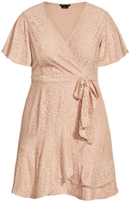 City Chic Sweet Love Lace Dress - rose