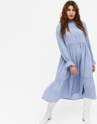 Monki Parly recycled long sleeve smock shirt midi dress in blue