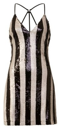 Dorothy Perkins Womens Girls On Film Monochrome Sequin Striped Shift Dress