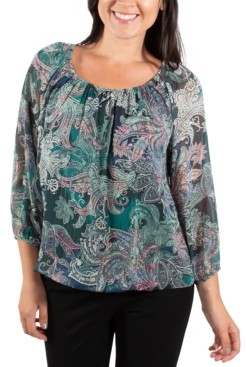 NY Collection Printed Peasant Top