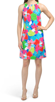 Made In Usa Lisa Printed Dress With Keyholes