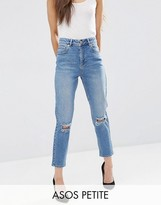Asos Farleigh Slim Mom Jeans in Prince Light Wash with Busted Knees