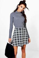 Boohoo Perrie Monochrome Check Skater Skirt