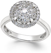 Macy's Diamond Cluster Halo Ring (3/4 ct. t.w.) in 14k White Gold